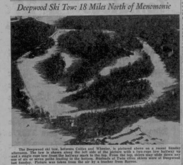 vintage ski hill in newspaper black and white photo